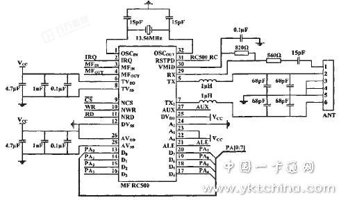 射频读写器的硬件电路主要包括微处理器at-mega162,mf rc500,天线电路