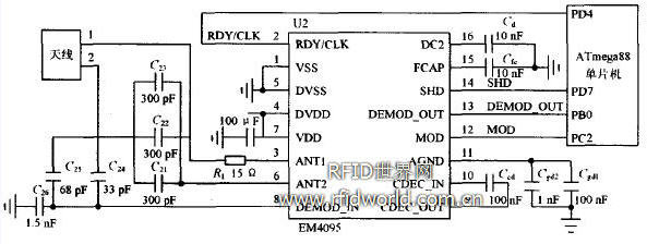 1 引 言 射频识别技术(Radio Frequency Identification,RFID)是利用无线电波对记录媒体进行读写。射频识别的距离可达几十厘米至几米。根据读写的方式,可以输入数千字节的信息,同时,还具有极高的保密性。RFID系统的卡片与读写器之间,无需物理接触即可完成识别,因此,可实现多目标识别和运动目标识别。低频系统有读写短距离、成本低的特点,主要有125 kHz和134.2 kHz两种频率,可用于门禁控制、校园卡、动物监管、货物跟踪等。本文设计的读卡器属于低频系统,使用EM4095构成