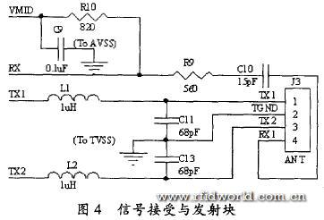 天线拾取的信号经过天线匹配电路送到rx脚,mf rc500的内部接收器对