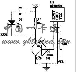 智能家居控制系统设计方案;     图4 红外接收器电路图; 3通红外线