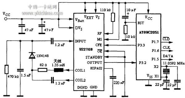 基于u2270b的reid卡读取模块电路图