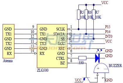 zlg500模块电路连接图